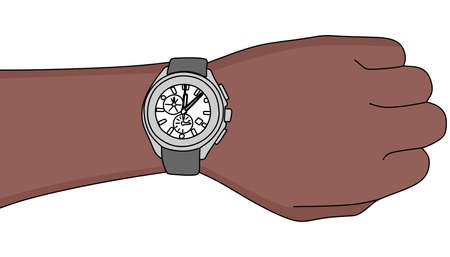 Hand with modern watch, vector illustration