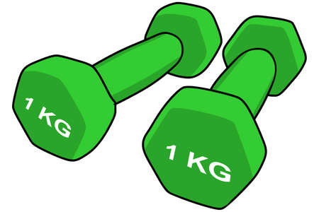 Two green dumbbell isolated on white background, vector illustration Illusztráció