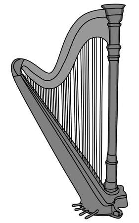 symphonic: The concert harp black and white, vector illustration Illustration
