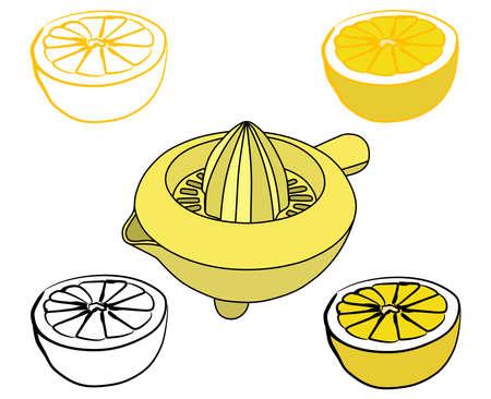 yellow lemon squeezer, vector illustration  イラスト・ベクター素材