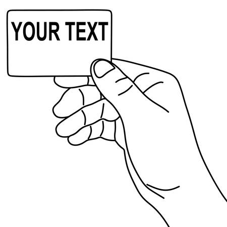 cutaway drawing: Hand hold blank card, illustration Illustration