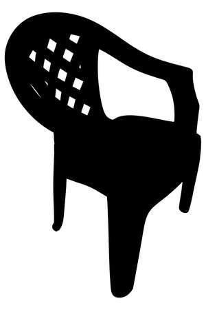 garden chair: plastic chair isolated on white background, illustration Illustration