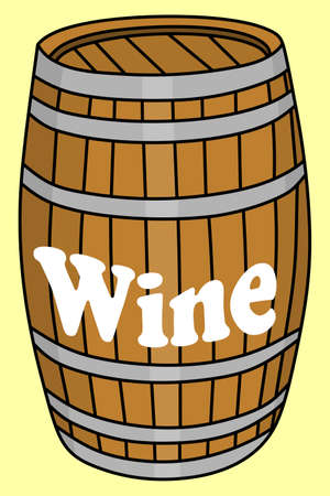 tun: old wine barrel, wooden barrel, illustration