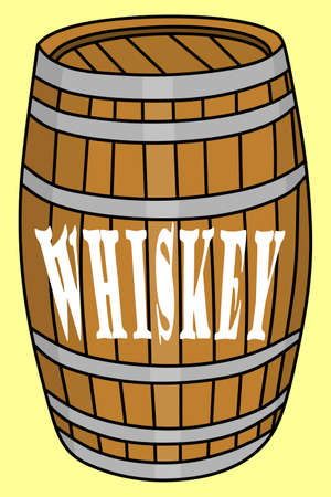 wooden barrel: old whiskey barrel, wooden barrel, illustration Illustration