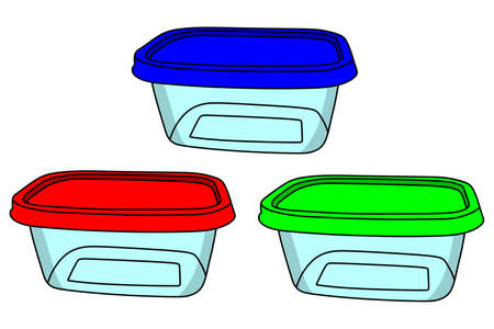 stockpot: plastic containers isolated on a white background, vector, illustration