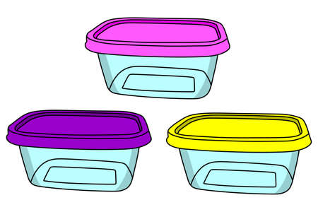 plastic containers isolated on a white background, vector, illustration