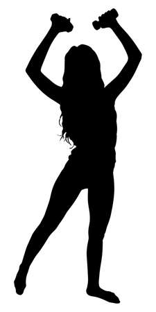 female silhouettes: fitness woman doing exercise, vector Illustration