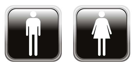 glossy icons: Male and female glossy icons, vector Illustration