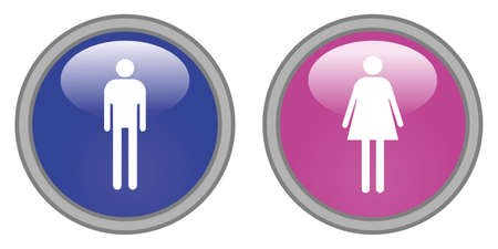 masculine: Male and female glossy icons, vector Illustration