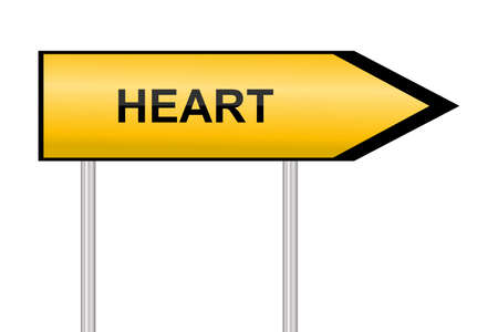 direction sign: Yellow street sign Heart, vector