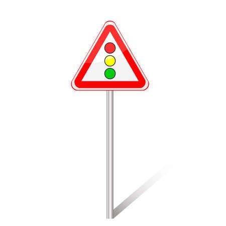 ahead: Warning traffic signs, Traffic signals ahead, vector Illustration