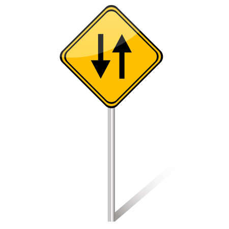 two lane highway: Vector illustration of two way yellow sign
