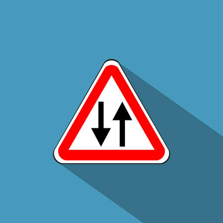 two roads: Traffic sign for two way, vector Illustration