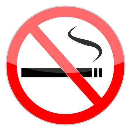smoldering cigarette: No smoking sign on white background