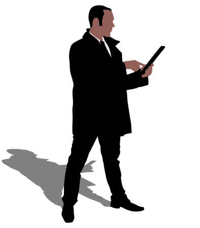 businessman shoes: Successful businessman in coat holding a laptop, vector