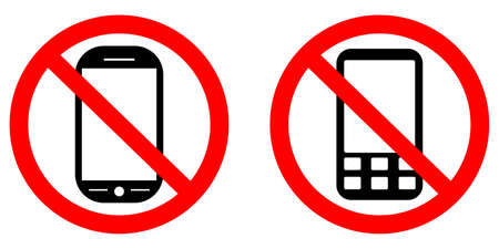 cell phones not allowed: No phone vector sign, vector illustration Illustration