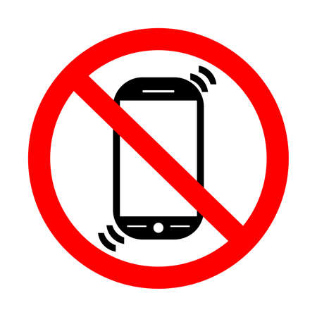 no cell phone: No Cell Phone Sign. Put Phones on Vibration