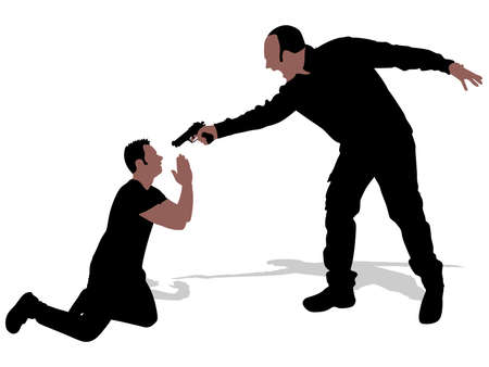hands tied: Vector silhouette of a man with a gun to a hostage