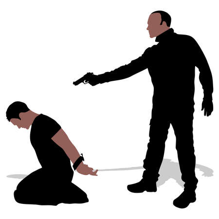 hostage: Vector silhouette of a man with a gun to a hostage