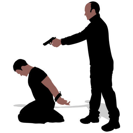 kidnapping: Vector silhouette of a man with a gun to a hostage