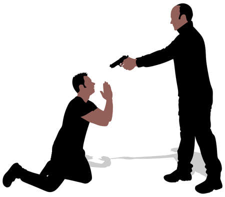 Vector silhouette of a man with a gun to a hostage