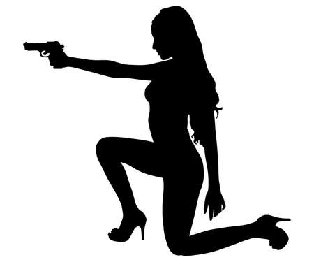 girl shooting, vector