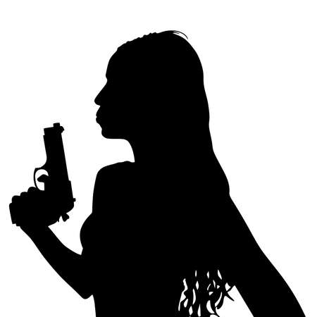 girl with gun: Girl blowing on the tip of her gun, vector