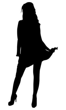 siluetas mujeres: silueta bailando, vector