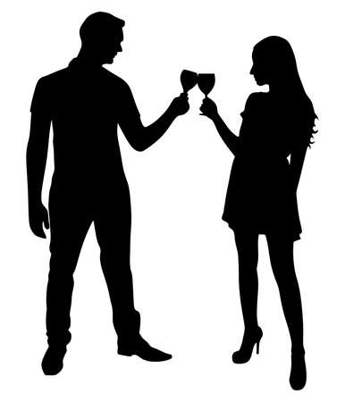 toasting wine: loving young couple toasting wine glasses, vector Illustration