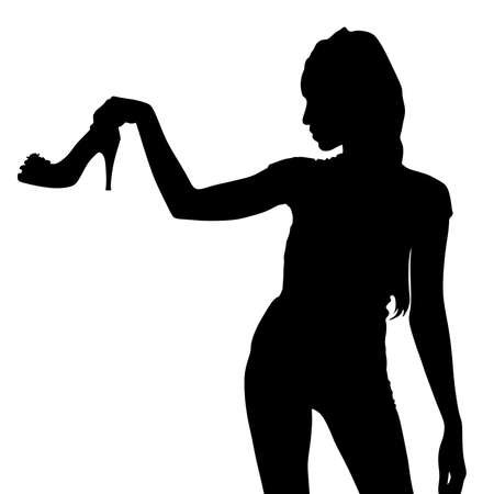 hold high: Woman with shoe in hand, vector