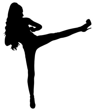 female kick: beautiful young woman practicing self defense, vector