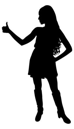 thumbup: Young Woman Showing Thumb Up Sign, vector