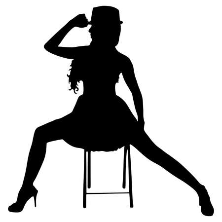 Young modern dancer posing on the chair, vector Illustration