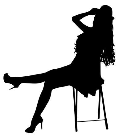 harmonie: Young modern dancer posing on the chair, vector Illustration