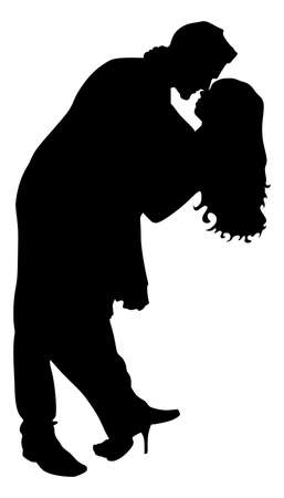 girls kissing: Silhouette of young couple in love kissing, vector Illustration