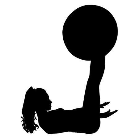 pilates ball: fitness woman doing exercise with pilates ball, vector Illustration