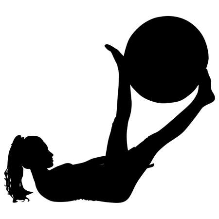 fitness woman doing exercise with pilates ball, vector Vektorové ilustrace