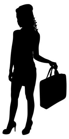 business woman with briefcase, vector Illustration