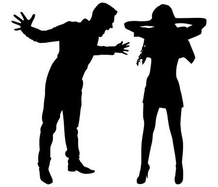 Boy yelling at his girlfriend, vector Illustration
