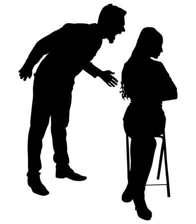 couple fight: Boy yelling at his girlfriend, vector Illustration