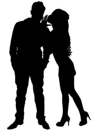 Beautiful woman whispering to boyfriends ear, vector