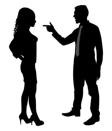sexes: Man yelling pointing at woman, vector Illustration
