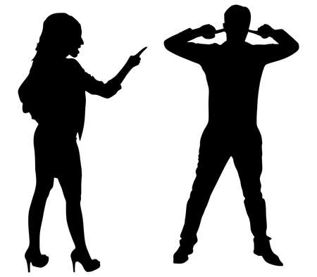 sexes: Couple fight, woman point finger, man covers ears to not listen, vector