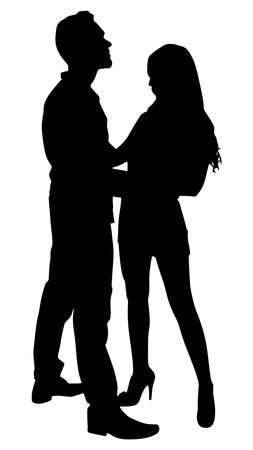 girls kissing: Silhouette of young couple in love, vector Illustration