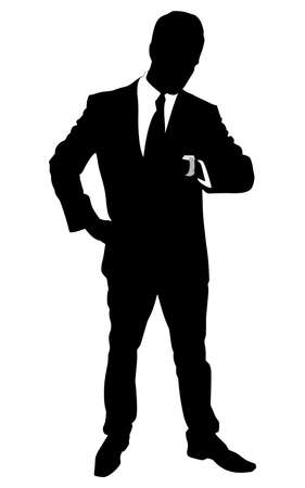 looks: successful businessman looks at his wrist watch, vector Illustration