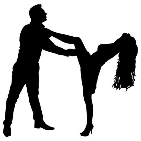 Young couple dancing tango, vector Illustration