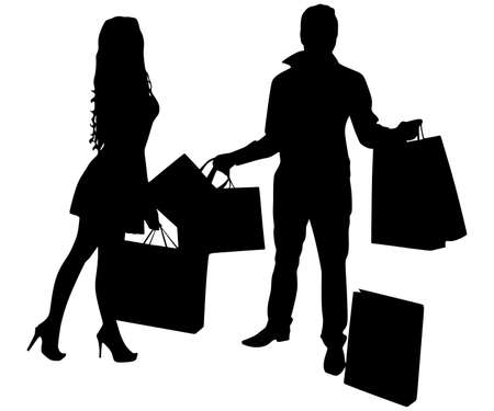 Young couple shopping and holding many shopping bags, vector Illustration