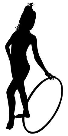Woman doing exercises with hula hoop, vector Illustration