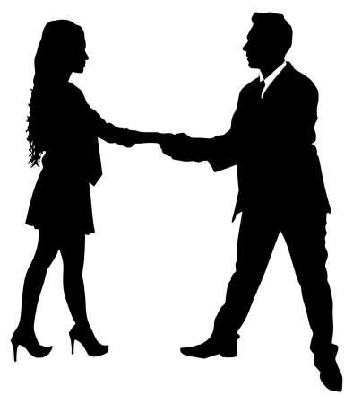 introducing: businessman and businesswoman handshake, vector