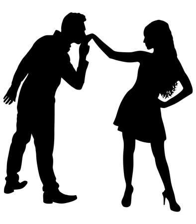 Man kissing woman's hand, vector